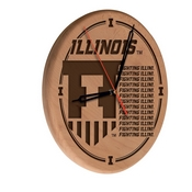 Illinois Laser Engraved Wood Clock by the Holland Bar Stool Co.