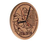 Miami (FL) Laser Engraved Wood Clock by the Holland Bar Stool Co.