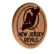 New Jersey Devils Laser Engraved Wood Clock by the Holland Bar Stool Co.