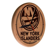 New York Islanders Laser Engraved Wood Clock by the Holland Bar Stool Co.