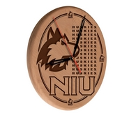Northern Illinois Laser Engraved Wood Clock by the Holland Bar Stool Co.