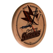 San Jose Sharks Laser Engraved Wood Clock by the Holland Bar Stool Co.
