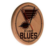 St Louis Blues Laser Engraved Wood Clock by the Holland Bar Stool Co.