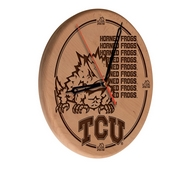 TCU Laser Engraved Wood Clock by the Holland Bar Stool Co.