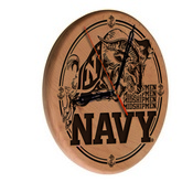US Naval Academy (NAVY) Laser Engraved Wood Clock by the Holland Bar Stool Co.