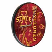 Iowa State Digitally Printed Wood Clock by the Holland Bar Stool Co.