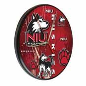 Northern Illinois Digitally Printed Wood Clock by the Holland Bar Stool Co.