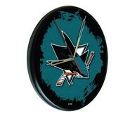 San Jose Sharks Digitally Printed Wood Clock by the Holland Bar Stool Co.