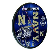 US Naval Academy (NAVY) Digitally Printed Wood Clock by the Holland Bar Stool Co.