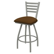 XL 410 Jackie Swivel Stool with Anodized Nickel Finish and Canter Thatch Seat