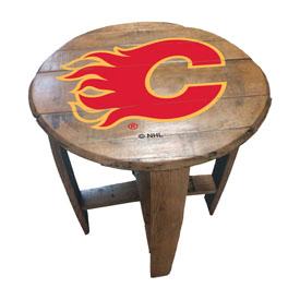 Calgary Flames Oak Barrel Table