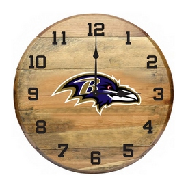 Baltimore Ravens Oak Barrel Clock