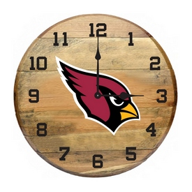 Arizona Cardinals Oak Barrel Clock