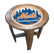 New York Mets Oak Barrel Table