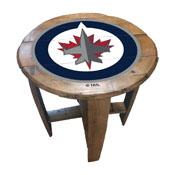 Winnipeg Jets Oak Barrel Table