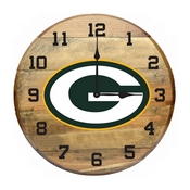 Green Bay Packers Oak Barrel Clock