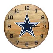 Dallas Cowboys Oak Barrel Clock