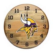 Minnesota Vikings Oak Barrel Clock