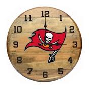 Tampa Bay Buccaneers Oak Barrel Clock