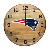 New England Patriots Oak Barrel Clock