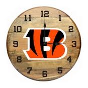 Cincinnati Bengals Oak Barrel Clock