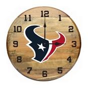 Houston Texans Oak Barrel Clock