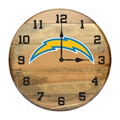 Los Angeles Chargers Oak Barrel Clock