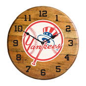New York Yankees Oak Barrel Clock