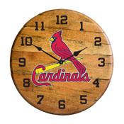 St. Louis Cardinals Oak Barrel Clock