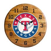 Texas Rangers Oak Barrel Clock
