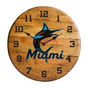 Miami Marlins Oak Barrel Clock