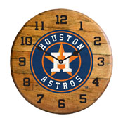 Houston Astros Oak Barrel Clock