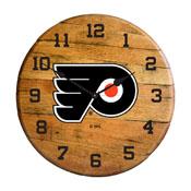 Philadelphia Flyers Oak Barrel Clock
