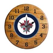 Winnipeg Jets Oak Barrel Clock