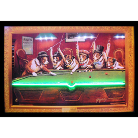 """NEON/LED DOGS PLAYING POOL HANGWALL PICTURE 36"""" x 24"""" x 1"""""""