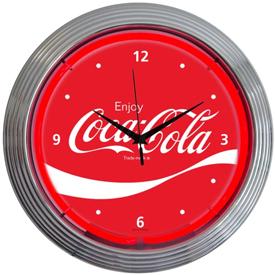 COCA-COLA WAVE NEON CLOCK CHROME FINISH