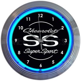 "Chevrolet Ss Super Sport Blue Neon Clock 15""w x 15""h x 3""d"