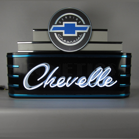 Art Deco Marquee Chevelle Neon Sign In Steel Can