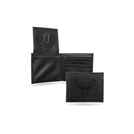 Bulls Laser Engraved Black Billfold Wallet