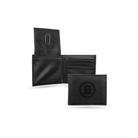 Bruins  Laser Engraved Black Billfold Wallet