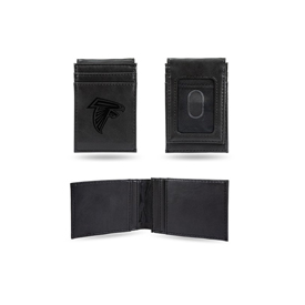 Falcons Laser Engraved Black Front Pocket Wallet