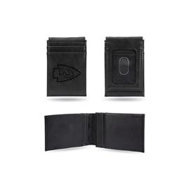 Chiefs Laser Engraved Black Front Pocket Wallet