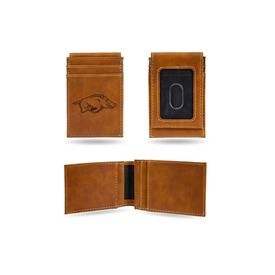 Arkansas University Laser Engraved Brown Front Pocket Wallet
