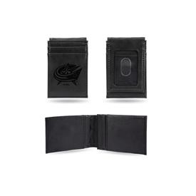 Blue Jackets  Laser Engraved Black Front Pocket Wallet