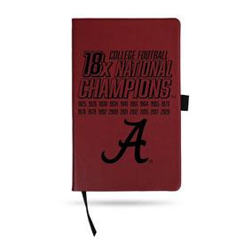 Alabama Crimson Tide 18 Time National Football Champs Laser Engraved Notepad