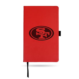49Ers Team Color Laser Engraved Notepad W/ Elastic Band - Red
