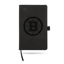 """Boston Bruins Black Laser Engraved Notepad (5.25"""" x 8.25"""") with Elastic Band"""