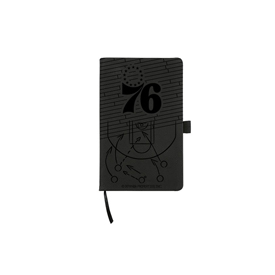 76Ers Laser Engraved Black Notepad With Elastic Band