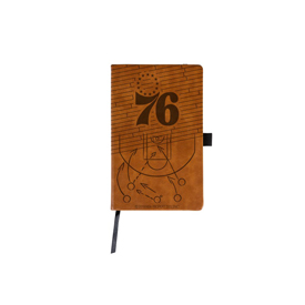 76Ers Laser Engraved Brown Notepad With Elastic Band