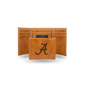 Alabama University Laser Engraved Brown Trifold Wallet